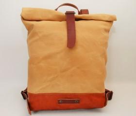 Waxed Canvas Backpack, vanilla color.