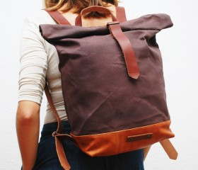 Waxed Canvas Backpack, bronze color.