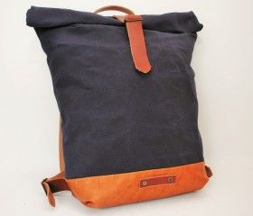 Waxed Canvas Backpack, navy color.