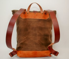 Waxed Canvas Backpack, brown color.