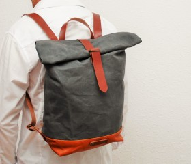 Waxed Canvas Backpack, charcoal grey color.