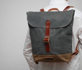 Waxed canvas rucksack, charcoal color.