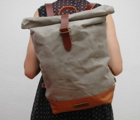 Waxed Canvas Backpack, light grey color.