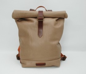 Leather Backpack,taupe color, with handles leather