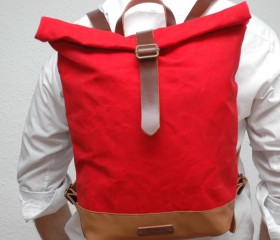 Waxed Canvas Backpack, red color