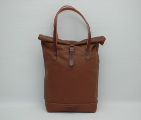 Roll top Tote bag made of soft leather ,caramel color