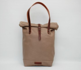 Roll top Tote bag made of soft leather ,taupe color