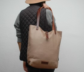 Tote bag made of soft leather ,taupe  color