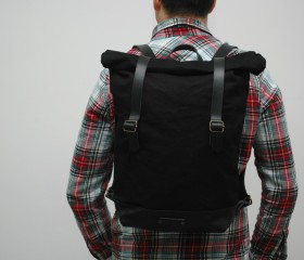 waxed Canvas Backpack, black color, hand waxed , with handles,double closure, leather base