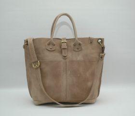 Leather Shopper  bag ,medium , taupe distressed color,Reinforced handles ,outside pocket