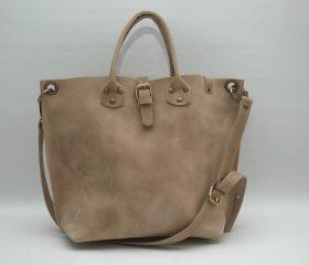 Leather Shopper  bag ,medium ,taupe distressed color,Reinforced handles