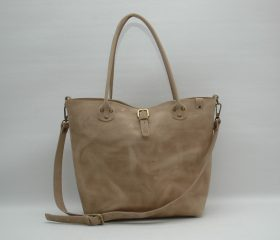 Leather Shopper  bag ,large,taupe distressed color,Reinforced handles