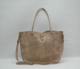 Leather Shopper  bag ,large,taupe distressed color,Reinforced handles,outside pockets