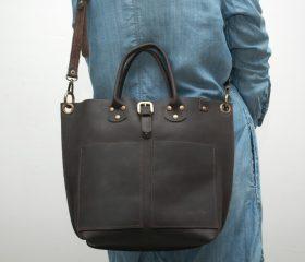 Leather Shopper  bag ,medium , chocolatte distressed color,Reinforced handles ,outside pocket