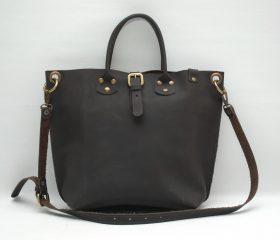Leather Shopper  bag ,medium ,black chocolatte color,Reinforced handles