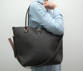 Leather Shopper  bag ,large,chocolatte distressed color,Reinforced handles