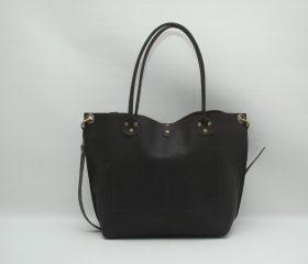 Leather Shopper  bag ,large,chocolatte distressed color,Reinforced handles,outside pockets
