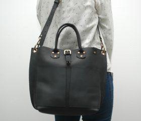 Leather Shopper  bag ,medium , black distressed color,Reinforced handles ,outside pocket