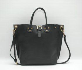 Leather Shopper  bag ,medium ,black distressed color,Reinforced handles