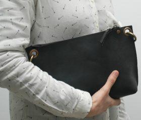 Leather messenger  bag ,black distressed color