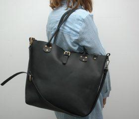 Leather Shopper  bag ,large,black distressed color,Reinforced handles