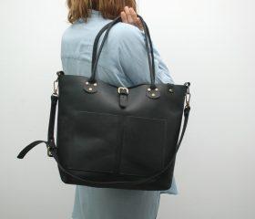 Leather Shopper  bag ,large,black distressed color,Reinforced handles,outside pockets