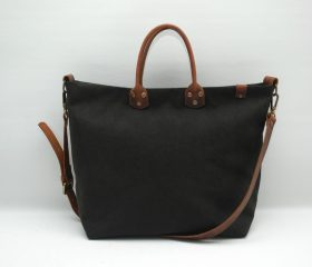Washed stone shopper bag,Black color,With handles in distressed brown leather