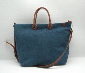 Washed stone shopper bag,Mediterranean color,With handles in distressed brown leather