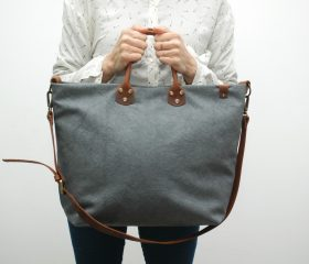 Washed stone shopper bag,gunmetal grey color,With handles in distressed brown leather