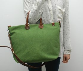 Washed stone shopper bag,Spring green color,With handles in distressed brown leather