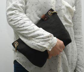 Washed canvas messenger  bag ,Black color
