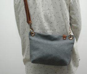 Washed canvas messenger  bag ,gunmetal grey color