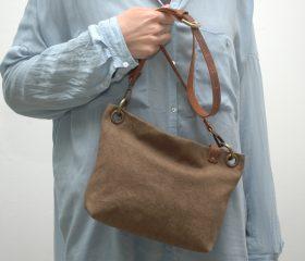 Washed canvas messenger  bag ,snuff brown color