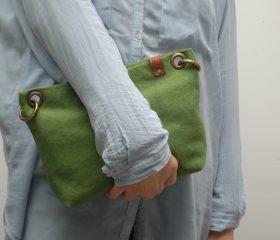 Washed canvas messenger  bag ,Spring Green  color