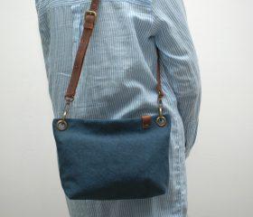 Washed canvas messenger  bag ,Mediterranean Blue color