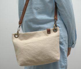 Washed canvas messenger  bag ,Natural  color