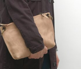 Leather messenger  bag ,taupe distressed color