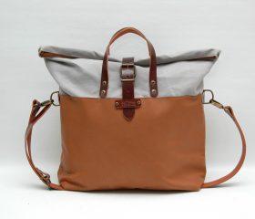 Weekend bag light grey/tan color
