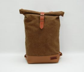 Waxed canvas backpack,tan color ,hand waxed