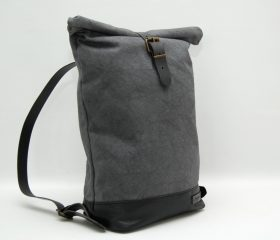 Waxed canvas backpack,charcoal color ,hand waxed