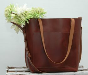 Leather tote bag ,large size,Chestnut color