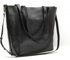 Leather tote bag, large  size ,black color
