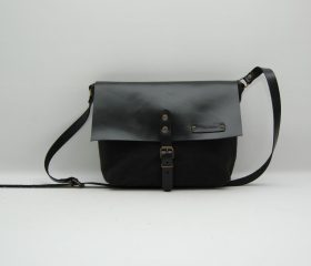 Waxed canvas messenger  bag ,black color