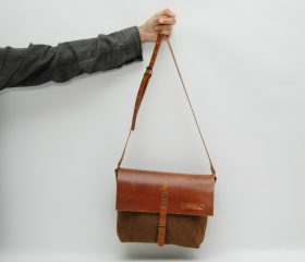 Waxed canvas messenger  bag ,tan color