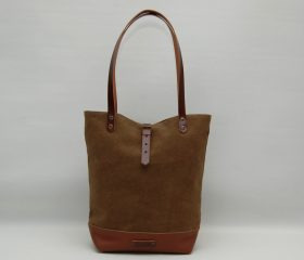 Tote bag waxed canvas, Snuff Brown color