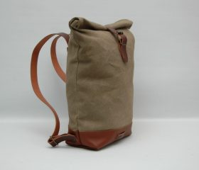 Waxed canvas backpack,Sand color