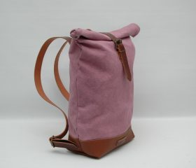 Waxed canvas backpack,pink lavender
