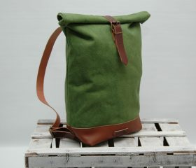 Waxed canvas backpack,Green Army