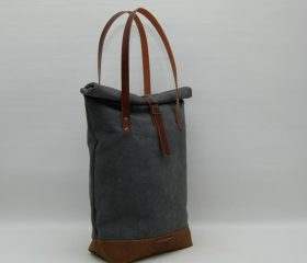 "Tote bag ""Rolltop""waxed canvas, charcoal color"