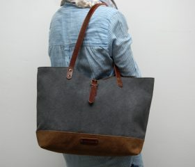 Waxed canvas  bag , gunmetal gray color/brown